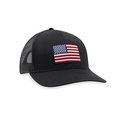 アメリカ国旗 帽子 USA - トラッカーメッシュスナップバック野球帽 US サイズ: One Size カラー: ブラック