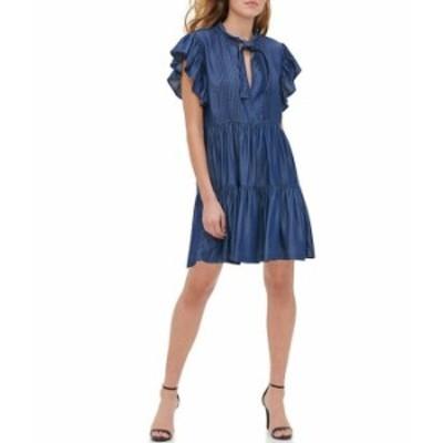 トミー ヒルフィガー レディース ワンピース トップス Tiered V-Neck Flutter Sleeve Dress Spring Wash