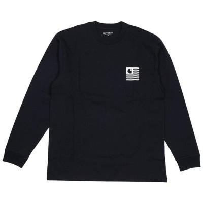 カーハート メンズ ロンT 長袖Tシャツ L/S STATE PATCH T-SHIRTS ロングスリーブ ステイトパッチ Tシャツ I026410 1C00 DARK NAVY Carhartt