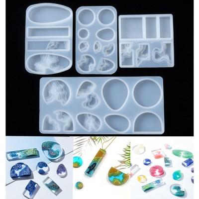 海 波 島 シリコンモールド レジン アロマストーン 手作り 石鹸 キャンドル 樹脂 粘土 オルゴナイト 型 抜き型 円形 正方形 長方形 イヤリング