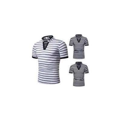ポロシャツ Tシャツ tシャツ メンズ 半袖tシャツ Vネック 半袖 ボーダー柄 メンズTシャツ ゆったり カジュアル おしゃれ 夏Tシャツ 夏物 夏服  新作