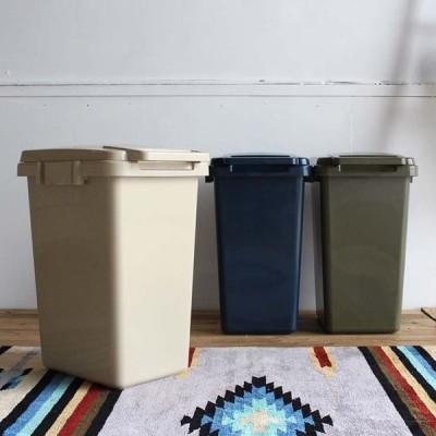 日本製 ふた付き ゴミ箱 ごみ箱 ダストボックス 分別 屋外 おしゃれ キッチン 庭 ベランダ リビング 45リットル ワンハンド トラッシュカン 45L LFS-845 4色対応