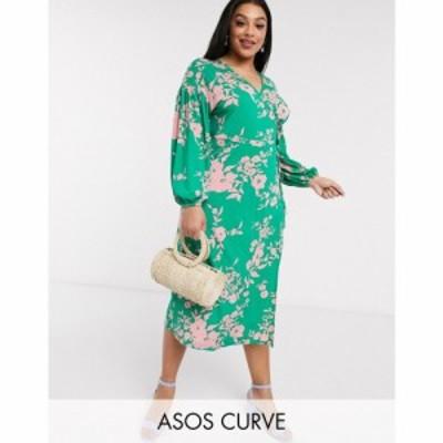 エイソス ASOS Curve レディース ワンピース ラップドレス ミドル丈 ASOS DESIGN Curve wrap midi tea dress with bright floral フロー