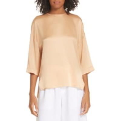 ヴィンス レディース シャツ トップス Silk 3/4 Length Sleeve Blouse PALE OCHRE