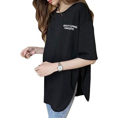 タイムスリップ レディース シンプル カットソー Tシャツ ロゴ 黒 白 プリント ネイビー 無地 ざっくり サイズ(ブラック, XL)
