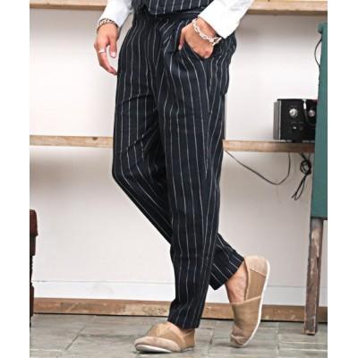 【ラグスタイル】 綿麻ストライプパンツ/アンクルパンツ メンズ イージーパンツ 麻混 綿麻 リネン メンズ ネイビー M LUXSTYLE
