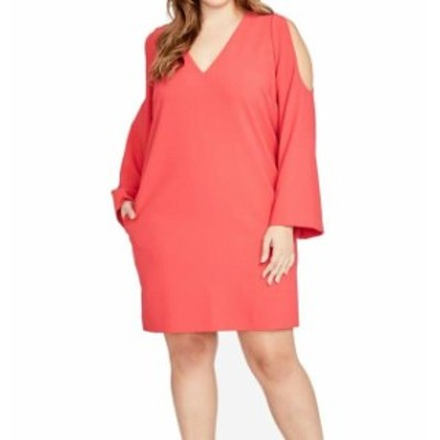 Rachel Roy レイチェルロイ ファッション ドレス RACHEL RACHEL ROY NEW Red Womens 1X Plus Cold Shoulder Shift Dress