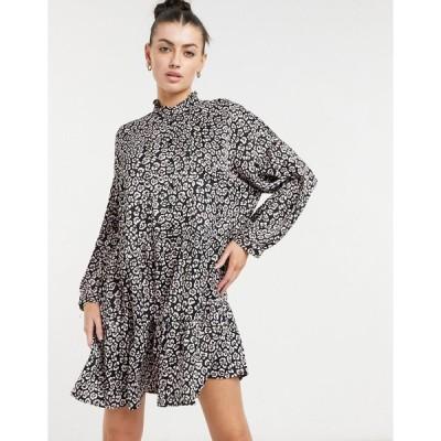 ヴェロモーダ ミニドレス レディース Vero Moda mini smock dress with high neck in black animal print エイソス ASOS マルチカラー