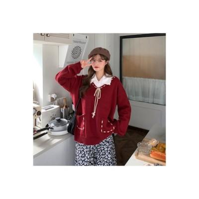 【送料無料】韓国風 ルース オーバーサイズ 風 襟 赤ワイン ヘッジ ニットのセーター 女 秋冬 ホワイト長 | 346770_A64186-4852951