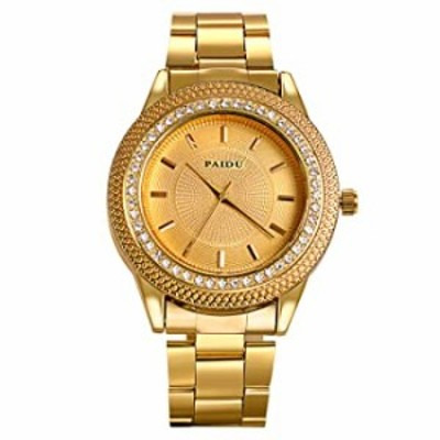 Lancardo Men's Jewelry Gold Tone Bling Crystal Accents Stainless Steel Wrist Watch for Halloween Costume Party