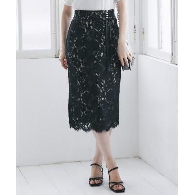 (tocco closet luxe/トッコクローゼットリュクス)りぼん&パール付きレースタイトスカート/レディース BLACK