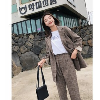 レディースファッション セットアップ パンツ チェック ダブル きれいめ カジュアル レトロ 韓国 オルチャン