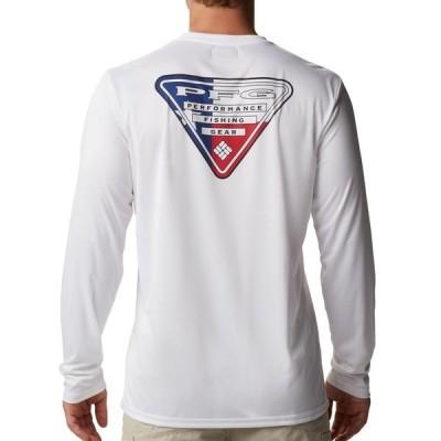 コロンビア シャツ トップス メンズ Columbia Terminal Tackle PFG State Triangle Long Sleeve Shirt (Regular and Big & Tall) White/TxFlag