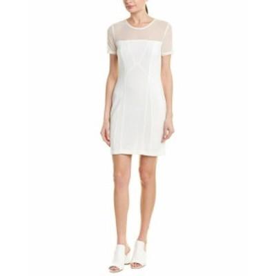 Quinn  ファッション ドレス Quinn Mesh Sheath Dress S Ivory