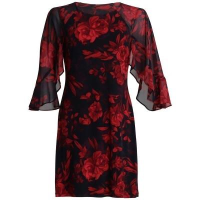 コネクテッド ワンピース トップス レディース Plus Size Chiffon-Sleeve Fit & Flare Dress Red