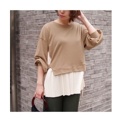 (RM STORE/アールエムストア)カットポンチ 裾プリーツボリューム袖プルオーバー mitis/レディース ベージュ