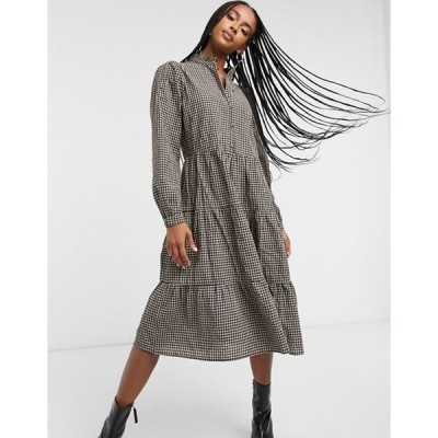 オンリー レディース ワンピース トップス Only midi smock dress with high neck in check
