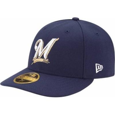 ニューエラ メンズ 帽子 アクセサリー New Era Men's Milwaukee Brewers 59Fifty Game Navy Low Crown Authentic Hat