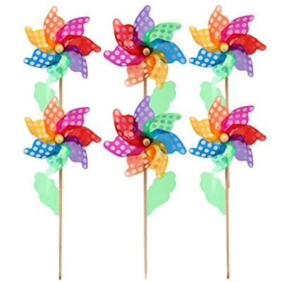 TOYMYTOY 風車 かざぐるま おもちゃ 多色 プラスチック 縁日用品 庭の装飾 ガーデニング 七三五 DIY 子供 6ピース