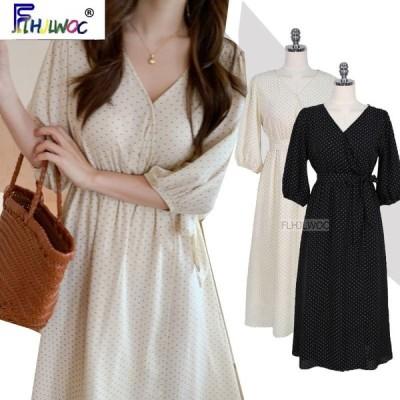 韓国 シック ロングドレス 女性 夏 リボン ドット Aライン かわいい ホワイト ポイント シャツ ドレス ワンピース レディース ファッション