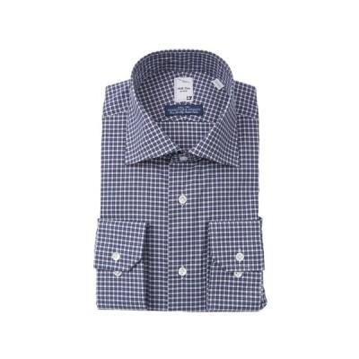 オールシーズン用 ネイビー系 ワイドカラースタイリッシュワイシャツ《プレミアム》 Bella Vista