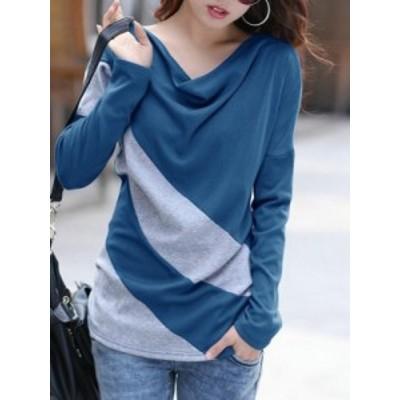 エレガント 配色 ゆるっと感じ オーバーサイズ 普段着 女性 Tシャツ