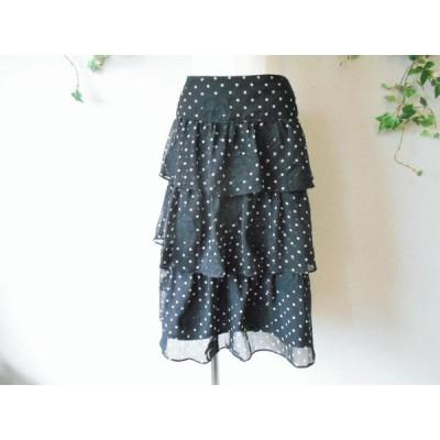 2014年 インゲボルグ INGEBORG お花 と 水玉 段付き ティアード スカート
