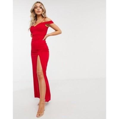 アックスパリ レディース ワンピース トップス AX Paris bandeau maxi dress with slit in red