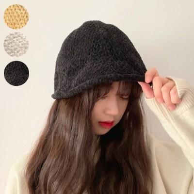 ニット 帽子 レディース つばあり 大人 ハンチング ベレー帽 黒 ブラック ぼうし シンプル ベーシック 人気 黒 ブラウン オフホワイト 22N75716 セール