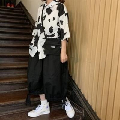 シャツ 半袖  オープンカラー 開襟シャツ カジュアルシャツ ファッション カジュアル 個性的  原宿系 春 秋