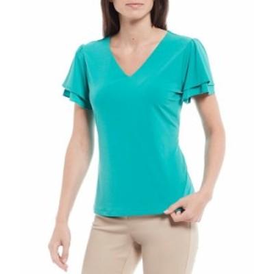 カルバンクライン レディース Tシャツ トップス Solid Matte Jersey V-Neck Double Tiered Short Sleeve Top Jungle