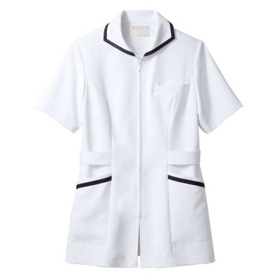住商モンブラン住商モンブラン ナースジャケット(半袖) 医療白衣 レディス 白/ネイビー S 73-1980(直送品)