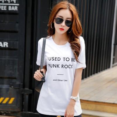 Tシャツ レディース インナー 半袖 ロゴ入り コットン 大きいサイズ 夏 夏物 クルーネック ロング丈 【 送料無料 】