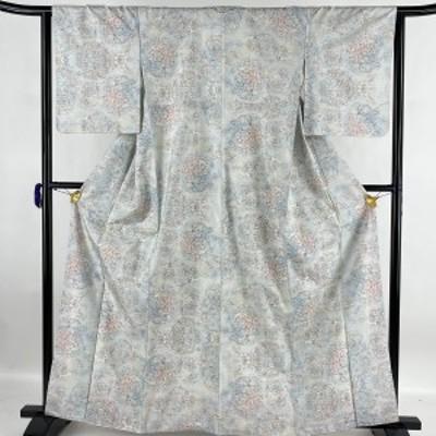 紬 美品 名品 華文 青灰色 袷 身丈163.5cm 裄丈64cm M 正絹 中古