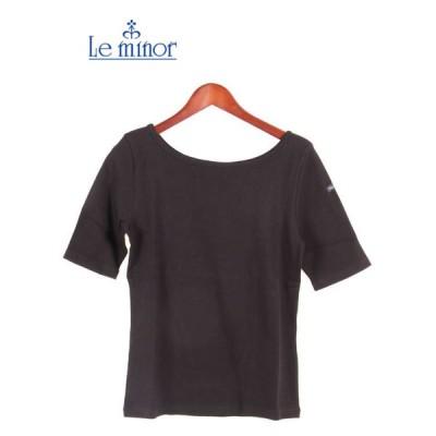 Le minor ルミノア 半袖リブTシャツ 5分丈 LMRIB091NOR BLACK ブラック レディース