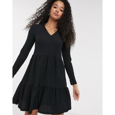 ニュールック レディース ワンピース トップス New Look crinkle smock v neck dress with frill collar in black