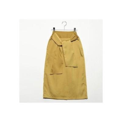 スタイルブロック STYLEBLOCK マットサテンバックリボンタイトスカート (イエロー)