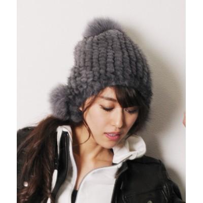 (sankyoshokai/サンキョウショウカイ)ミンク 帽子 編み込み ボンボン付き/レディース グレー