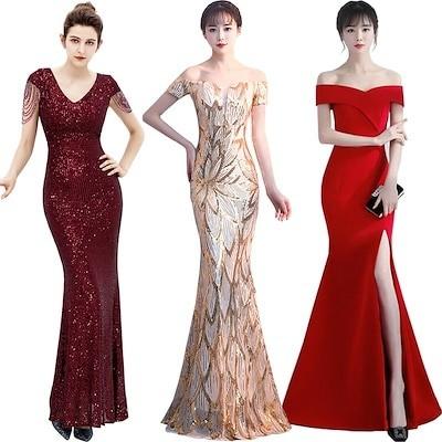 韓国ファッション ワンピース スカート 結婚式 二次会 パーティードレス 誕生日会服