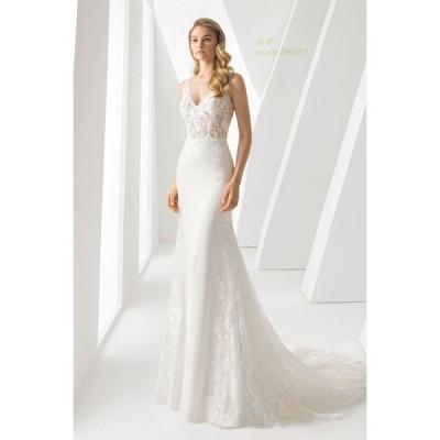 マーメイドライン ウエディングドレス Vネック パーティドレス レディース ロングドレス 二次会ドレス レース マーメイドライン 披露宴 結婚式 ドレス
