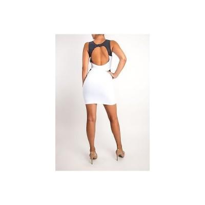 ドレス ボウリー  Boulee White Grey Sexy Stretch Dress Fitted Bodycon