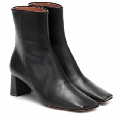ヴェトモン Vetements レディース ブーツ ショートブーツ シューズ・靴 Boomerang leather ankle boots Black