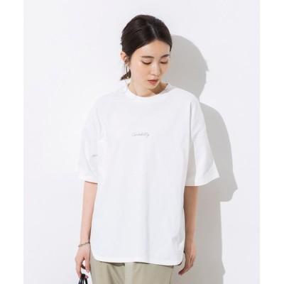 tシャツ Tシャツ 【WEB限定/別注】綿100%オーガニックコットン ロゴプリント オーバー半袖Tシャツ