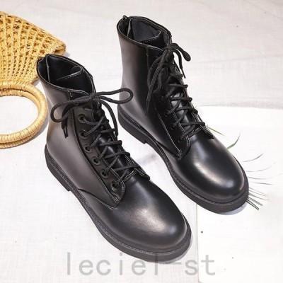 ショートブーツ レディース靴 ワークブーツ 厚底 靴 レースアップ バックジップ 太ヒール 美脚 黒(メ便不可)