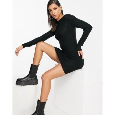 ブレーブソウル レディース ワンピース トップス Brave Soul Tamsin fisherman knit sweater dress in black Black