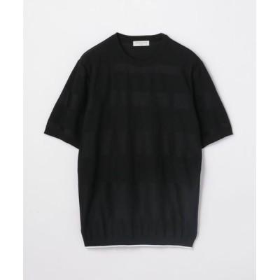 TOMORROWLAND/トゥモローランド コットン シャドーボーダー ニットTシャツ 19 ブラック XS