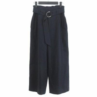 【中古】ノーリーズ Nolley's パンツ ホームスパンリングベルト 無地 38 紺 ネイビー レディース