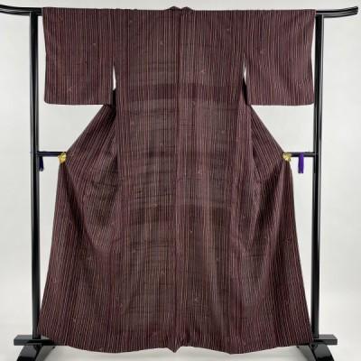 小紋 美品 秀品 紬地 縦縞 葉柄 赤紫 袷 160cm 62cm S 正絹 中古