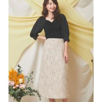 Noela【美人百花・with3月号掲載】Aラインツイードスカート