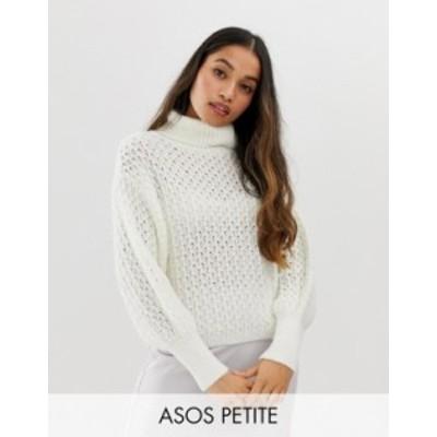 エイソス レディース ニット・セーター アウター ASOS DESIGN Petite stitch detail roll neck sweater Cream